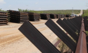 Wall construction on the US-Mexico border seen from Chihuahua State in Mexico